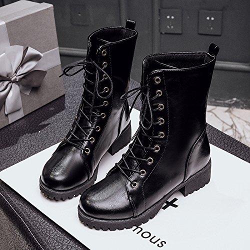 &ZHOU Bottes d'automne et d'hiver courtes bottes femmes adultes Martin bottes Chevalier bottes A32 Black