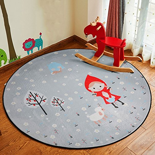 Gcci cartoon copertina per bambini, soggiorno camera da letto comodino tappeto tappeto rotondo cestino pensile computer chair mat, diameter 120cm