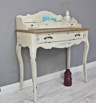 Consola Secreter Blanco Marrón Rústico Luxus nuevo Beige maciza mesa de madera