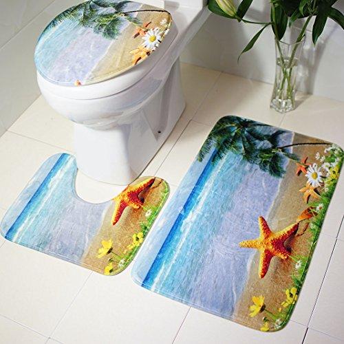 Badematten Set , Rosa Schleife 3er Badgarnitur Badezimmer Matte Set Dusch Bade Matte Vorleger Teppich-Matte Starfish Muster für Wohnzimmer, Schlafzimmer, Schwimmbad Toilet