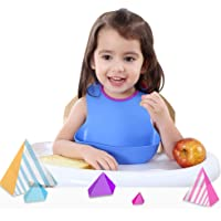 Halfknot Silicone Baby Bibs Easily Wipe Clean - Comfortable Soft Waterproof Bibs Keeps Stains Off, Set of 1 Colors