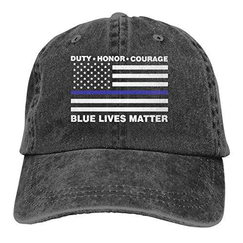 Wfispiy Blue Lives Matter Polizei Blue Line Us Flag Adult Trendy Denim Sonnenhut Einstellbare Baseballmütze