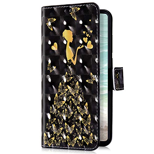 Uposao Kompatibel mit Huawei P20 Pro Handyhülle Bling Glitzer Bunt Muster Leder Tasche Schutzhülle Brieftasche Handytasche Wallet Lederhülle Klapphülle Flip Case,Schmetterling Fee