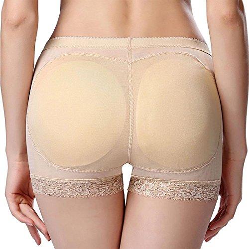 GWELL Frauen Push Up Shapewear Unterhose Padded Nahtlos Figurformende Miederslip Sommer Beige