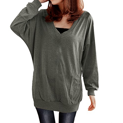 Allegra-K-Ladies-V-Neck-T-Shirt-Batwing-Casual-Tops-Loose-Hoodies-Blouses