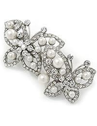 Pasador para pelo en forma de mariposa con perlas de cristal de color y broche, en tono plata, 70mm de largo