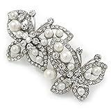 Weiße Glasperle, Kristall klar Schmetterling Haarspange Hair Clip Grip in Silber Tone–70mm entlang