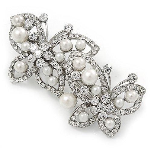 broche de cristal con forma mariposa en tono plata