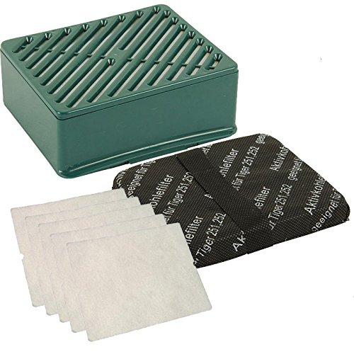 1 Aktivfiltersystem Hepa Filter H 12 grün + 5 Motorschutzfilter weiß passend für Vorwerk Tiger 251 und 252 Staubsauger
