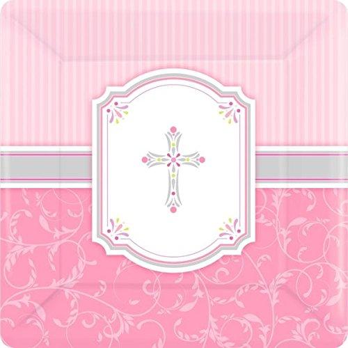 Pappteller zur Erstkommunion Pink 25,4cm, quadratisch, 8Stück ()