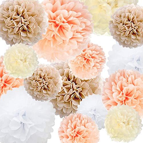 s Papier Blume 22 Pcs Champagner, Pfirsich, Elfenbein, Weiß für Geburtstag Bachelorette Hochzeit Baby Shower Bridal Shower Party Dekoration ()
