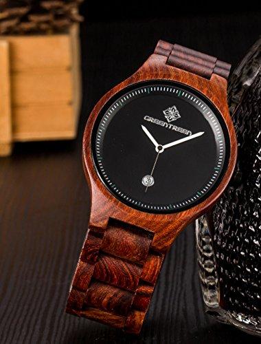 Greentreen Handgefertigte Herren Holzuhr aus massivem, rötlichen Sandelholz, Armbanduhr für Männer mit Quarzziffernblatt und Datumsanzeige - 6
