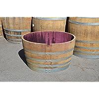 Weinfass gebraucht aus Eichenholz, Holzfass halbiert 150l - Als Pflanzkübel, Blumentopf, Wasserfass, Teichfass (Fass natur mit Schlaufen)