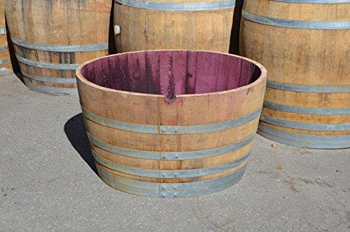 150 Liter Weinfass aus Eichenholz, Holzfass halbiert – Als Pflanzkübel oder Teichfass