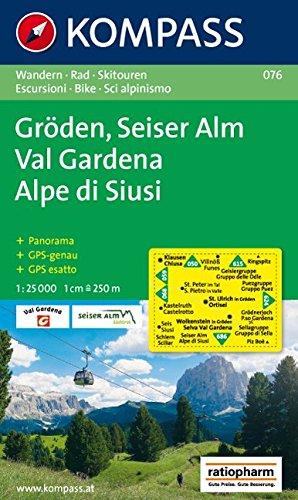 Carta escursionistica n. 076. Val Gardena, Alpe di Siusi 1:25.000. Adatto a GPS. Digital map. DVD-ROM