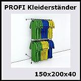 150x200x40 PROFI KLEIDERSTÄNDER WANDSTÄNDER WANDREGAL REGAL KLEIDERSTANGE-P150R