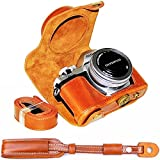 First2savvv XJPT-EM10II-A09S09 Funda Cámara cuero de la PU cámara digital bolsa caso cubierta con correa para Olympus OM-D E-M10 Mark 2 EM10 Mark II marrón + Correa de la camara