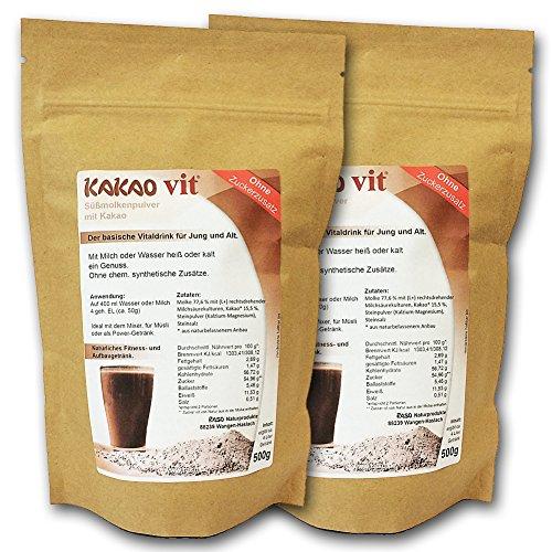 Protein Shakes 2x500g VERSANDKOSTENFREI - HOCHWERTIGE Whey Protein Kakao Geschmack ohne Zuckerzusatz - Molkenprotein von RASO-Allgäu Low Carb - Protein Shakes in der Aroma-Tüte Süßmolkenpulver Ohne Zusatz von Aromen - Vegetarisch - Ohne Gentechnik - Proteinreich - Molke 77,6% mit mit (L+) rechtsdrehenden Milchsäurekulturen, Dolomit (Kalzium - Magnesium/Muskelmineral)