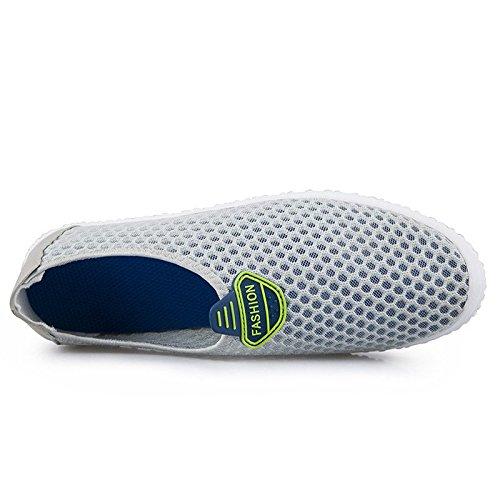 Chaussures de course homme simple couche tissu chaussures avec mesh respirant chaussures une pédale chaussures light gray