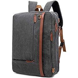 Mochila convertible en bolso de hombro para guardar ordenadores portátiles. Maletín de negocios con manilla Mochila de viaje para guardar ordenadores portátiles de 15.6 pulgadas (Lienzo Gris)