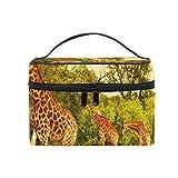Coosun d'Afrique du Sud girafes Trousse cosmétique sur toile de voyage Trousse de toilette Poignée supérieure simple couche Maquillage Organiseur de sac multifonction Sac de maquillage pour femme
