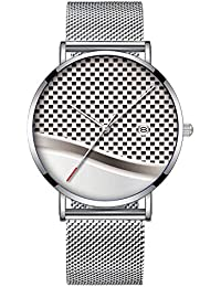 e62f8aa5702f Reloj de Pulsera Minimalista de Cuarzo con Fecha y Banda de Malla 194