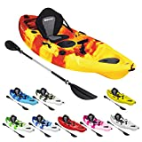 Bluewave Single Sit On Top Fishing Kayak | With 5 Rod Holders, 2 Storage Hatches, Padded Seat & Paddle (Red & Yellow)