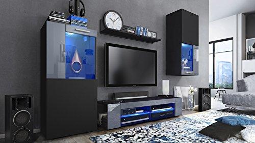 Wohnzimmerwand Schwarz matt / Fronten in Schwarz matt und Grau Hochglanz