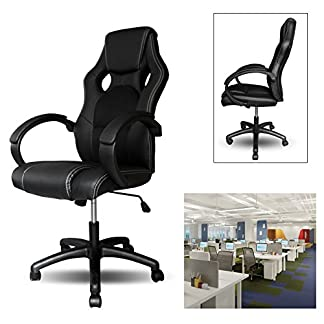 HG® HG® PU Racing Chair Silla de oficina Comfort Executive Chair Silla giratoria Negro Altura ajustable Capacidad de carga 200 kg