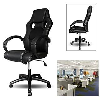 HG® HG® PU Racing Chair Silla de oficina Comfort Executive Chair Silla giratoria Negro Altura ajustable Capacidad de carga 200 kg