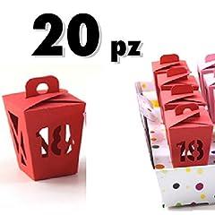 Idea Regalo - TrAdE shop Traesio® 20 PZ BOMBONIERE LANTERNA VARI COLORI COLORATI FESTA 18 ANNI ASTUCCI - ROSSO