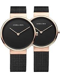 BOS pareja relojes Ultra delgada Simple Dial cuarzo reloj de pulsera con banda de acero inoxidable de malla para su o su 8010negro