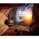 murando - Fototapete Steine 400x280 cm - Vlies Tapete - Moderne Wanddeko - Design Tapete - Wandtapete - Wand Dekoration – Natur Landschaft Sonne Waterfall Höhle Grotte c-C-0151-a-a