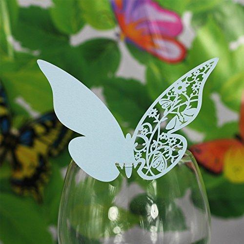 HK SSK Hochzeit Schmetterling Name Card Glas Alkohol Sitz Karte Banquet Dekoration hellblau
