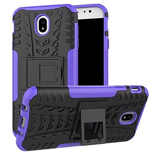 YHUISEN Hyun Pattern Dual Layer Hybrid Armor Kickstand 2 in 1 Shockproof Case Cover für Samsung Galaxy J7 Pro 2017 J730 (Europäische Version) ( Color : Blue ) Purple