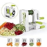 Sedhoom - Cortador de Verduras en Espiral de 5 Cuchillas,Doblado Espiralizador de Verduras de Fácil...