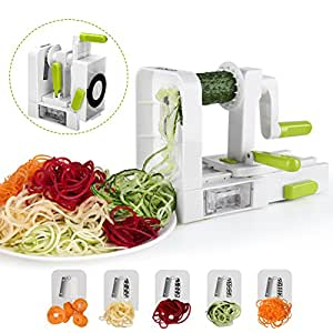 Spiralizer 5-Blade Vegetable Spiralizer,Sedhoom Foldable Spiral Slicer,Best Zucchini Noodle & Veggie Pasta & Spaghetti Maker for Low Carb/Paleo/Gluten-Free Meals