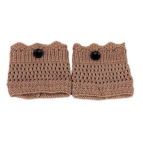 �rmer, Crochet Knit One Button Stiefel Socken Topper Manschette Universal Winter Zubehör (Khaki) ()