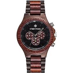 Handmade Multi-functional movement Men's watch Wooden Watch With 5atm Waterproof Sandalwood WoodMmens Watch In Red
