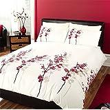 Crema diseño floral chino floral edredón colcha, color rojo y negro