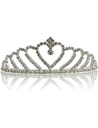 Katara 1738 - Tiara de Princesa con Diamantes de Imitación de Plata para Novia y Dama de Honor - Corona Modelo #1