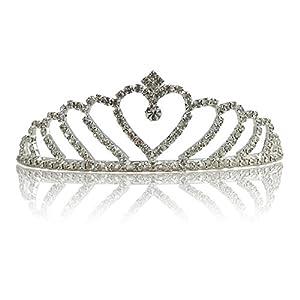 Katara 1673 – (Viele Diadem Designs) Silbernes Strass Diadem Hochzeit JGA, Fasching, Karneval – Onesize