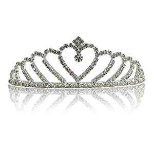 Katara-Tiara de Princesa con Diamantes de Imitación de Plata para Novia y Dama de Honor, color corona modelo #1, (1738)