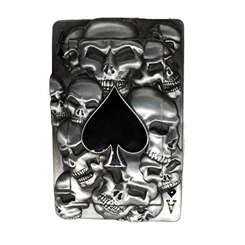 eeddoo® Gürtelschnalle - Pik & Skull (Buckle für Wechselgürtel für Damen und Herren | Belt Frauen Männer Oldschool Rockabilly Metall Gothic Wave Rock Biker Western Trucker Casino Skull)