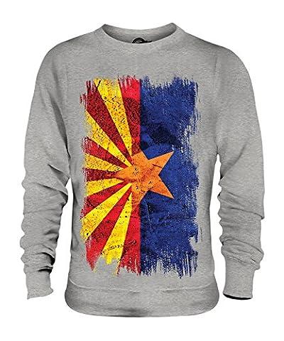CandyMix Bundesstaat Arizona Grunge Flagge Unisex Herren Damen Sweatshirt, Größe X-Large, Farbe Grau Meliert