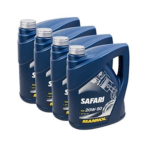 4X MANNOL MN7404-5 Safari 20W-50 Motor-Öl API SL/CF 5L