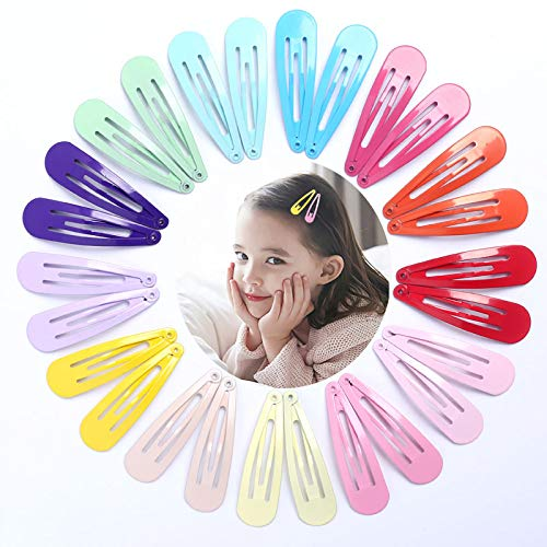 KHKJ 40pcs Hairpins Snap Hair Clips for Children Hair Accessories Baby Women Girls Barrettes Clip Pins Solid Color Metal Hairgrip 5cm - Solid Clip