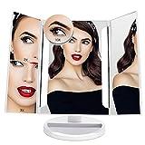 FASCINATE Espejo Maquillaje con Luz 24 Led Triple Espejo Aumentos 10x, 3X, 2x/1X Lupa...