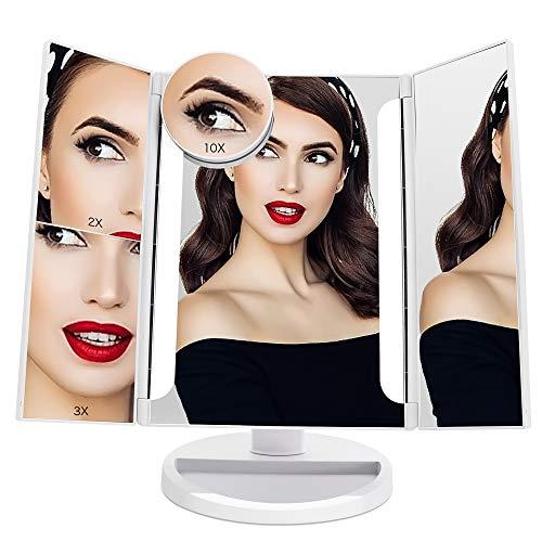 FASCINATE Espejo Maquillaje Luz 24 Led Triple Espejo
