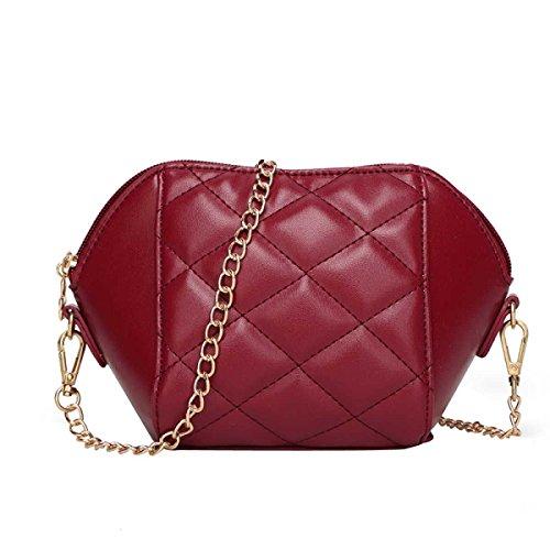 Frauen Kettenbeutel Mode Schultertasche Messenger Bag Redwine